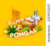 illustration of happy pongal... | Shutterstock .eps vector #1253922037
