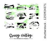 set of black brush stroke and... | Shutterstock .eps vector #1253924371