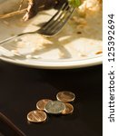 tip left on a restaurant table... | Shutterstock . vector #125392694