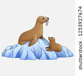 cartoon seal lion on ice the... | Shutterstock .eps vector #1253927674