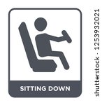 sitting down icon vector on...   Shutterstock .eps vector #1253932021