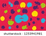 hand drawn set of colorful ink... | Shutterstock .eps vector #1253941981