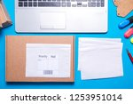 desk office with shipping label ... | Shutterstock . vector #1253951014