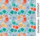 warm knitted winter socks ... | Shutterstock .eps vector #1253956567
