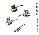 vector cartoon animal clipart... | Shutterstock .eps vector #1253957791