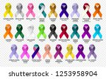 set ribbon all cancers. cancer... | Shutterstock .eps vector #1253958904