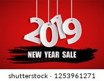 new year sale 2019 red concept | Shutterstock . vector #1253961271