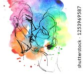 kissing couple. hand drawn... | Shutterstock . vector #1253969587