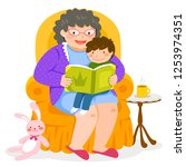 grandma reading a story to her...   Shutterstock . vector #1253974351