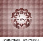 electrocardiogram icon inside... | Shutterstock .eps vector #1253981011