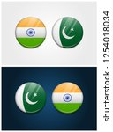 india and pakistan round flags | Shutterstock .eps vector #1254018034