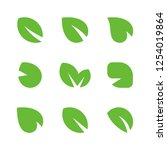 green leaves set  vector leaf... | Shutterstock .eps vector #1254019864