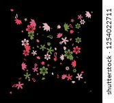 feminine floral pattern with... | Shutterstock .eps vector #1254022711