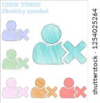 user times sketchy symbol.... | Shutterstock .eps vector #1254025264