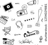 set of cute cinema theme... | Shutterstock . vector #1254029881