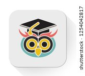 Stock vector vector graduate owl icon flat illustration of education wisdom knowledge concept isolated on 1254042817