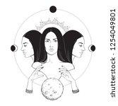 triple lunar goddess hecate... | Shutterstock .eps vector #1254049801