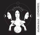 triple lunar goddess hecate... | Shutterstock .eps vector #1254049831
