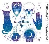 magic set   planchette  skull ... | Shutterstock .eps vector #1254049867