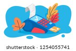 pos terminal for payment by... | Shutterstock .eps vector #1254055741