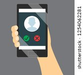 incoming call screen on mobile... | Shutterstock .eps vector #1254062281