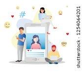 social media vector... | Shutterstock .eps vector #1254064201