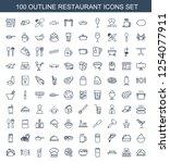 restaurant icons. trendy 100... | Shutterstock .eps vector #1254077911
