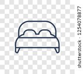 double bed icon. trendy linear... | Shutterstock .eps vector #1254078877