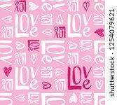 hand written valentine's day... | Shutterstock .eps vector #1254079621