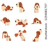 cute beagle dog in various...   Shutterstock .eps vector #1254081757