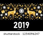 2019 happy new year greeting... | Shutterstock .eps vector #1254096247