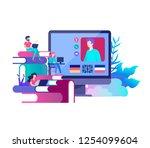online language courses ... | Shutterstock .eps vector #1254099604