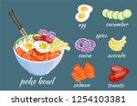 isometric white round poke bowl ... | Shutterstock .eps vector #1254103381