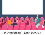 people audience watching movie... | Shutterstock .eps vector #1254109714