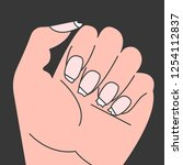 brittle nails  female hand with ... | Shutterstock .eps vector #1254112837