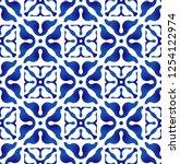 indigo tile pattern  ceramic... | Shutterstock .eps vector #1254122974
