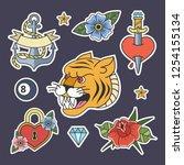 set of tattoo in old school... | Shutterstock .eps vector #1254155134