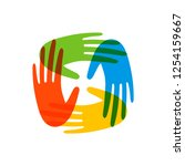 colorful human hands together... | Shutterstock .eps vector #1254159667