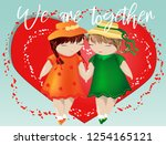 happy valentine's day. a pair... | Shutterstock .eps vector #1254165121