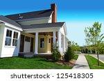 yellow suburban american new... | Shutterstock . vector #125418305