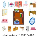 furniture and interior cartoon... | Shutterstock .eps vector #1254186187