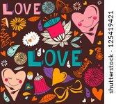 vector lovely seamless pattern... | Shutterstock .eps vector #125419421