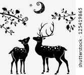 silhouettes of black and white... | Shutterstock .eps vector #125419865
