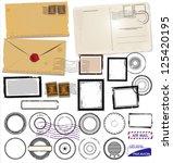 set of post stamp symbols ... | Shutterstock .eps vector #125420195