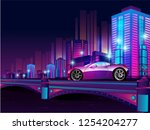 futuristic night city.... | Shutterstock .eps vector #1254204277