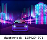 futuristic night city.... | Shutterstock .eps vector #1254204301