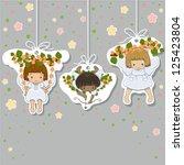 valentines card. set of little... | Shutterstock .eps vector #125423804