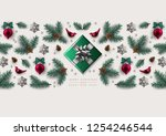 horizontal christmas border... | Shutterstock .eps vector #1254246544