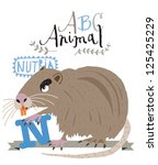 abc animals  n is for nutria.... | Shutterstock .eps vector #125425229