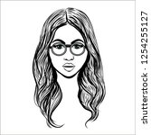 woman witb glasses sketch or... | Shutterstock .eps vector #1254255127
